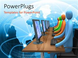PowerPlugs: PowerPoint template with a number fo people working on the computers with globe in the background
