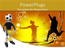 PowerPlugs: PowerPoint template with a number of football players along with a figure holding a cup