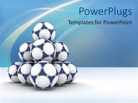 PowerPlugs: PowerPoint template with a number of footballs together with bluish background