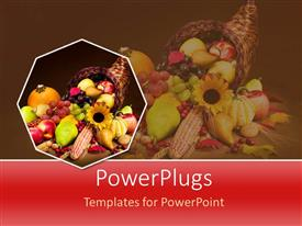 PowerPoint template displaying a number of fruits in the basket with reflection in background