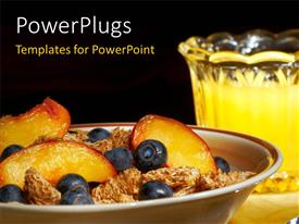 PowerPlugs: PowerPoint template with a number of fruits with a bowl in the background