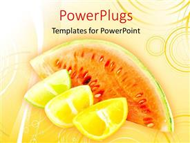 PowerPlugs: PowerPoint template with a number of fruits with an orange background