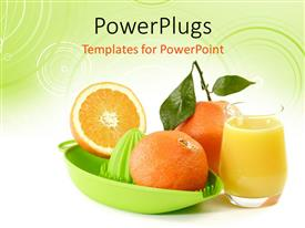 PowerPoint template displaying a number of fruits with an orange juice