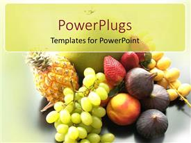 PowerPlugs: PowerPoint template with a number of fruits together with grey background