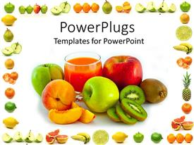 PowerPlugs: PowerPoint template with a number of fruits with white background