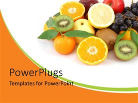 PowerPoint template displaying a number of fruits with a white background