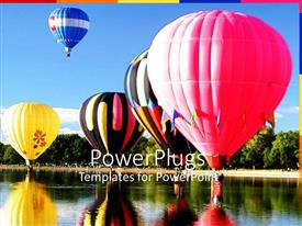 PowerPlugs: PowerPoint template with a number of gas balloons in the lake