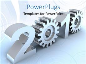 PowerPlugs: PowerPoint template with a number of gears with bluish background