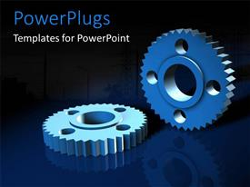 PowerPlugs: PowerPoint template with a number of gears with bluish background and place for text