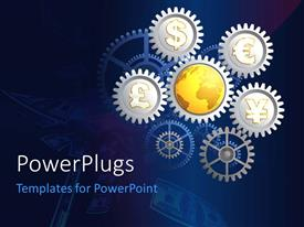 PowerPlugs: PowerPoint template with a number of gears with currency signs and bluish background