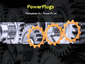 PowerPlugs: PowerPoint template with a number of gears depicting industrial background