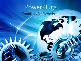 PowerPlugs: PowerPoint template with a number of gears with globe in the background