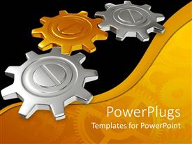 PowerPlugs: PowerPoint template with a number of gears with golden and black background