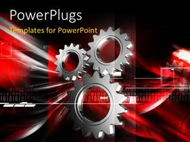 PowerPlugs: PowerPoint template with a number of gears and a reddish background