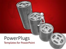 PowerPoint template displaying a number of gears with reddish background