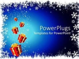PowerPlugs: PowerPoint template with a number of gift hampers with bluish background