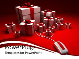 PowerPlugs: PowerPoint template with a number of gift hampers with a mouse