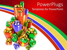PowerPlugs: PowerPoint template with a number of gift hampers with multi colored background
