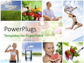 PowerPlugs: PowerPoint template with a number of girls in a good shape with clouds in the background
