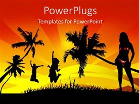 PowerPlugs: PowerPoint template with a number of girls happy in the jungle
