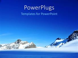 PowerPlugs: PowerPoint template with a number if glaciers with  clear sky