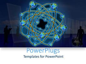 PowerPlugs: PowerPoint template with a number of globes connected to each other in a circular way