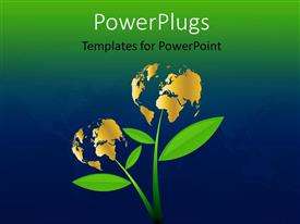 PowerPoint template displaying a number of globes in form of flowers with bluish background