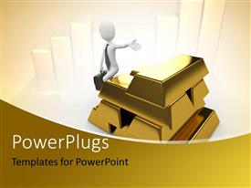 PowerPoint template displaying a number of gold bricks along with a person