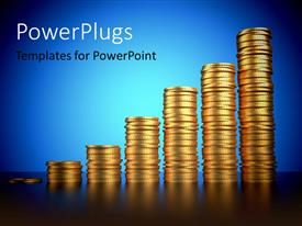 PowerPlugs: PowerPoint template with a number of gold coins with a bluish background