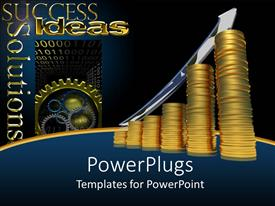 PowerPoint template displaying a number of gold coins with bluish background and a growth arrow