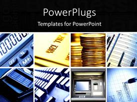 PowerPlugs: PowerPoint template with a number of gold coins with calculators in the background