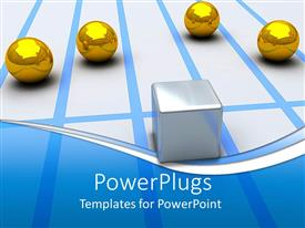 PowerPoint template displaying a number of golden balls with a dice