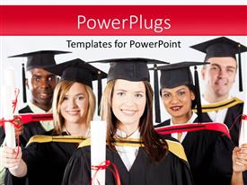 PowerPoint template displaying a number of graduates celebrating together