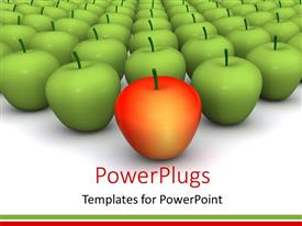 PowerPlugs: PowerPoint template with a number of green apples with a red apple in front