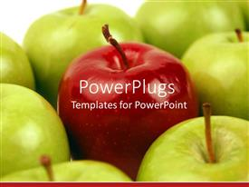 PowerPlugs: PowerPoint template with a number of green apples with a red one in the middle