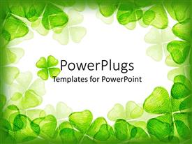 PowerPoint template displaying a number of green leaves in form of hearts