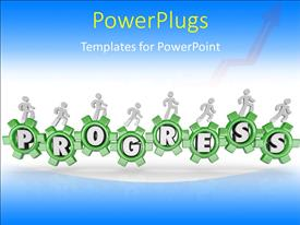 PowerPlugs: PowerPoint template with a number of greenish gears with bluish background