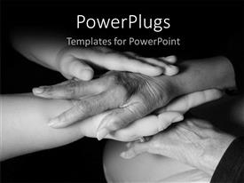 PowerPlugs: PowerPoint template with a number of hands above each other