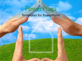 PowerPlugs: PowerPoint template with a number of hands creating the shape of a home