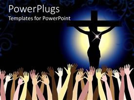PowerPlugs: PowerPoint template with a number of hands and a figure of holy Jesus being crucified