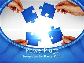 PowerPlugs: PowerPoint template with a number of hands holding puzzle pieces