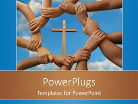 PowerPlugs: PowerPoint template with a number of hands holding together with a holy cross in the middle