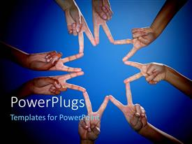 PowerPlugs: PowerPoint template with a number of hands joining their fingers
