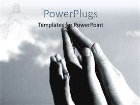 PowerPoint template displaying a number of hands praying to God with clouds in background