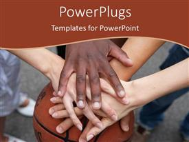 PowerPlugs: PowerPoint template with a number of hands together with a basketbll