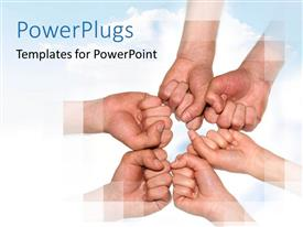 PowerPoint template displaying a number of hands together with a white background