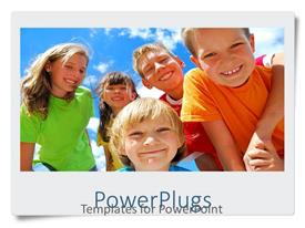 PowerPlugs: PowerPoint template with a number of happy kids with the sky in the background