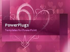 PowerPlugs: PowerPoint template with a number of hearts with purple background