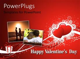 PowerPlugs: PowerPoint template with a number of hearts with reddish background