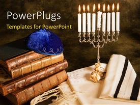 PowerPlugs: PowerPoint template with a number of holy books with candles
